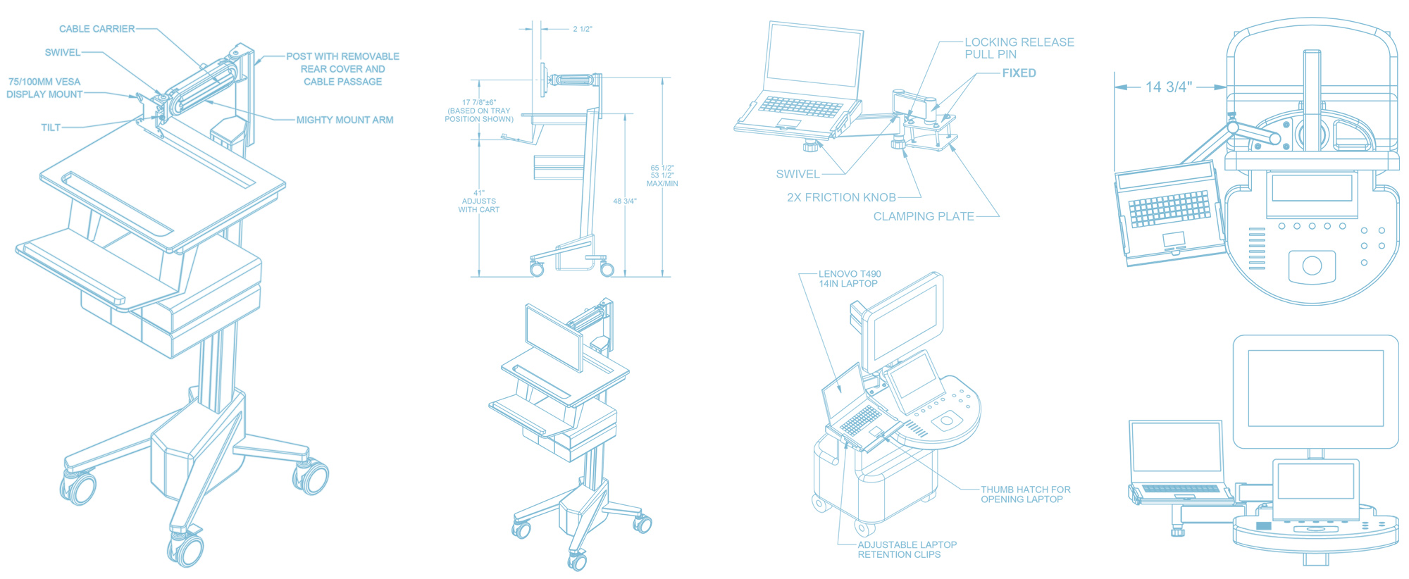 Strongarm Healthcare Customized Wall Arm Mounts and Workstation Systems